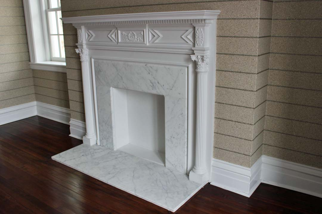 The master bedroom dressing area also has a fireplace. The Omexco wraps around corners with ease.